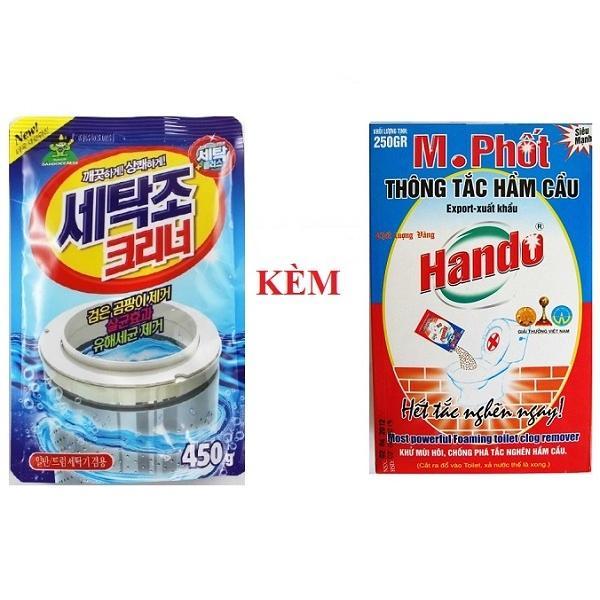 Combo gói bột tẩy vệ sinh lồng máy giặt Hàn Quốc 450g kèm Hộp M.Phốt Hando 250g xuất khẩu - 997339 , 4253739841123 , 62_8048536 , 120000 , Combo-goi-bot-tay-ve-sinh-long-may-giat-Han-Quoc-450g-kem-Hop-M.Phot-Hando-250g-xuat-khau-62_8048536 , tiki.vn , Combo gói bột tẩy vệ sinh lồng máy giặt Hàn Quốc 450g kèm Hộp M.Phốt Hando 250g xuất khẩu