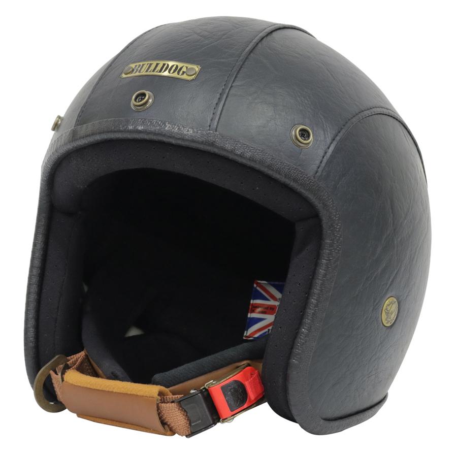 Mũ Bảo Hiểm 3/4 Bulldog Leather 2017 - Đen
