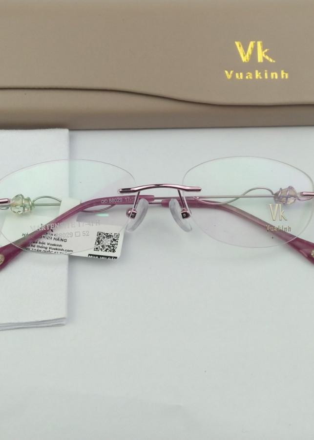 Gọng kính cận không viền càng đính ngọc lục bảo VK-4