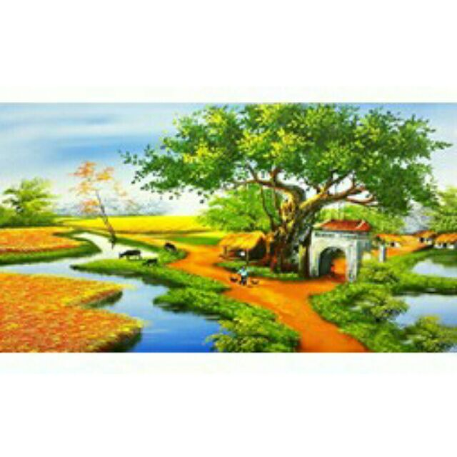 Tranh thêu 3D phong cảnh đồng quê LV3048