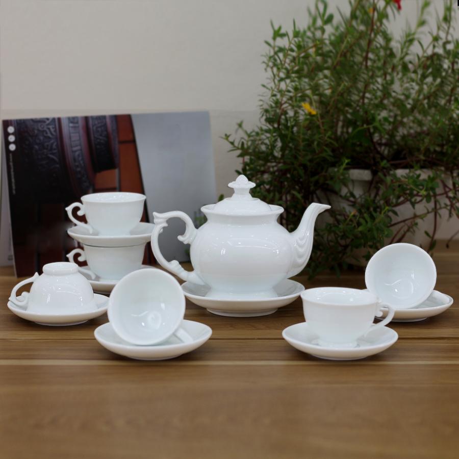 Bộ ấm chén men trắng Cát Tường  - bộ bình trà, bình uống trà cao cấp