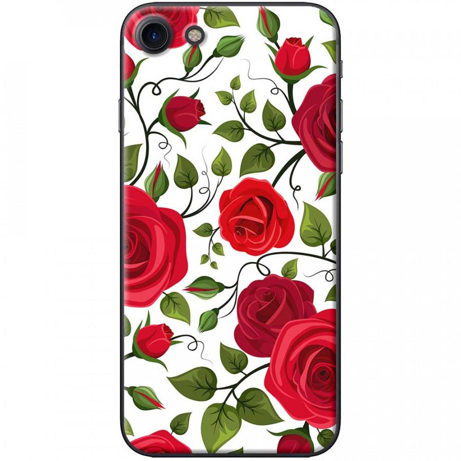 Ốp lưng  dành cho iPhone 7, iPhone 8 mẫu Bụi hoa hồng đỏ trắng