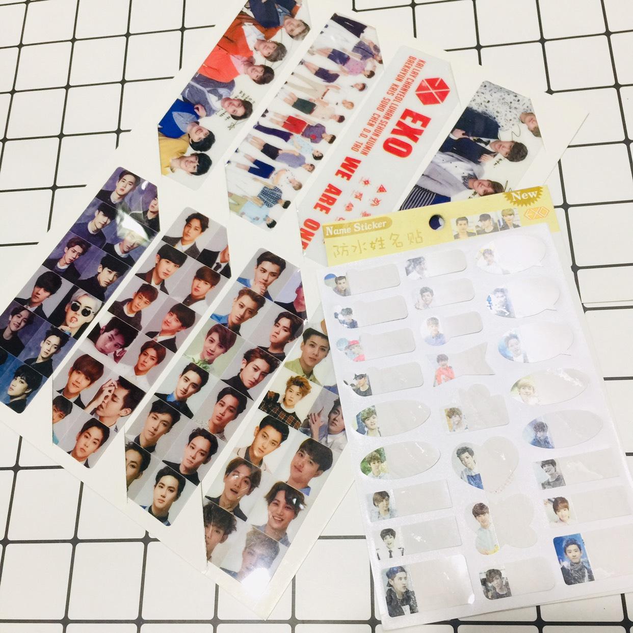 Combo đánh dấu trang và sticker dán ghi chú EXO