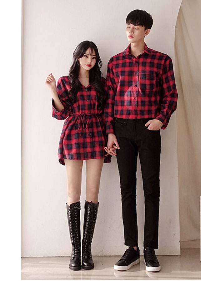 Bộ áo váy đôi sơ mi cặp caro đỏ nam nữ HOT 2019