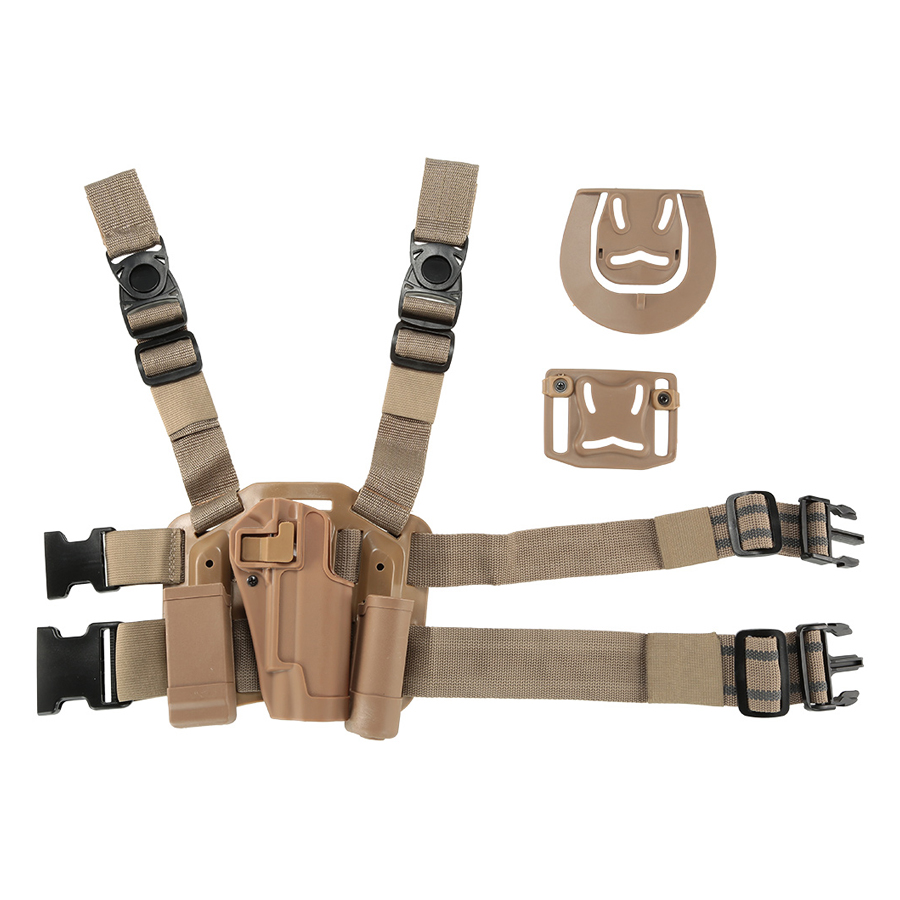 4 in 1 Tactical Hunting Paintball Airsoft Drop Leg Thigh Rig Holster Platform w/ 2 Pouches for 1911 - Earth