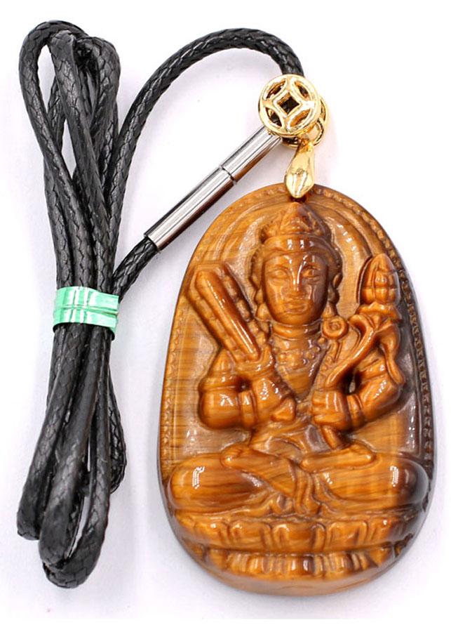 Vòng cổ Phật Hư Không Tạng đá mắt hổ 5 cm DEMHN6 kèm hộp nhung - Hộ mệnh tuổi Sửu, Dần - Mặt Phật Size lớn