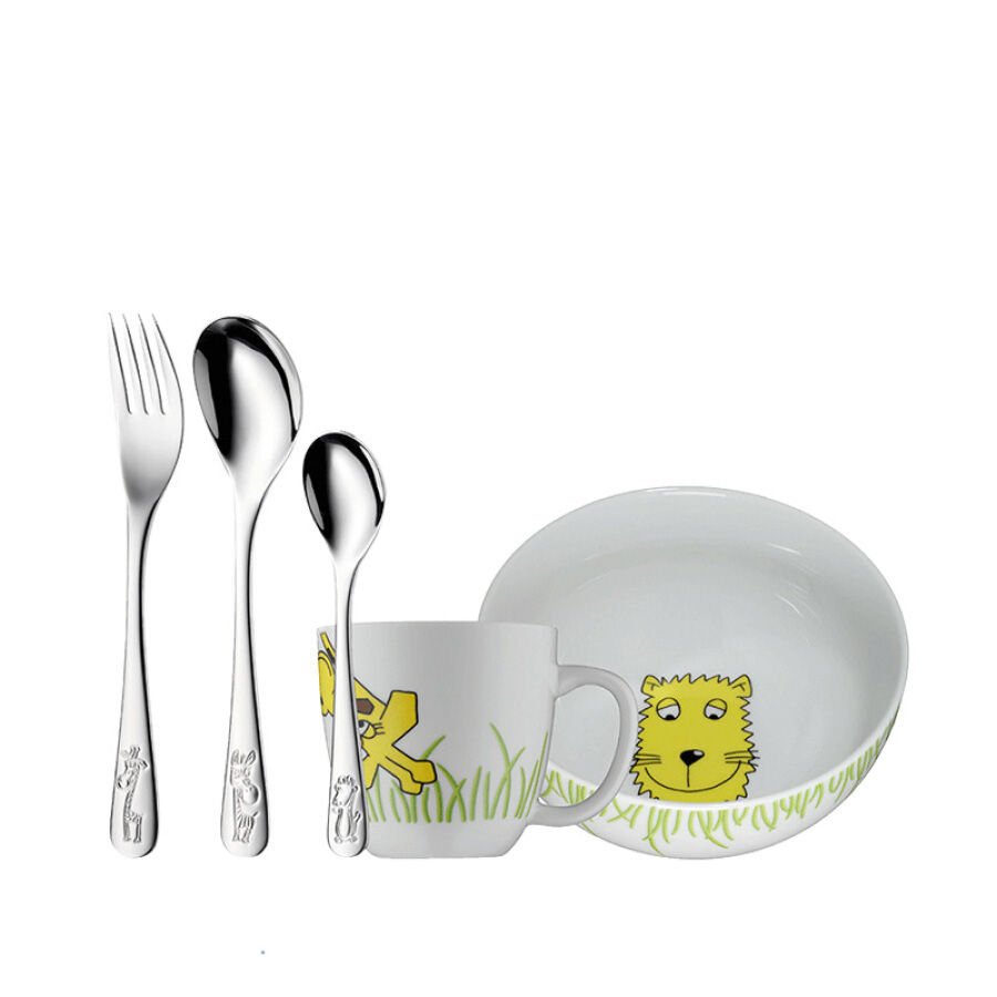 Germany WMF Futengbao children cartoon tableware set of 5 stainless steel fork spoon cup creative baby bowl 1200000010