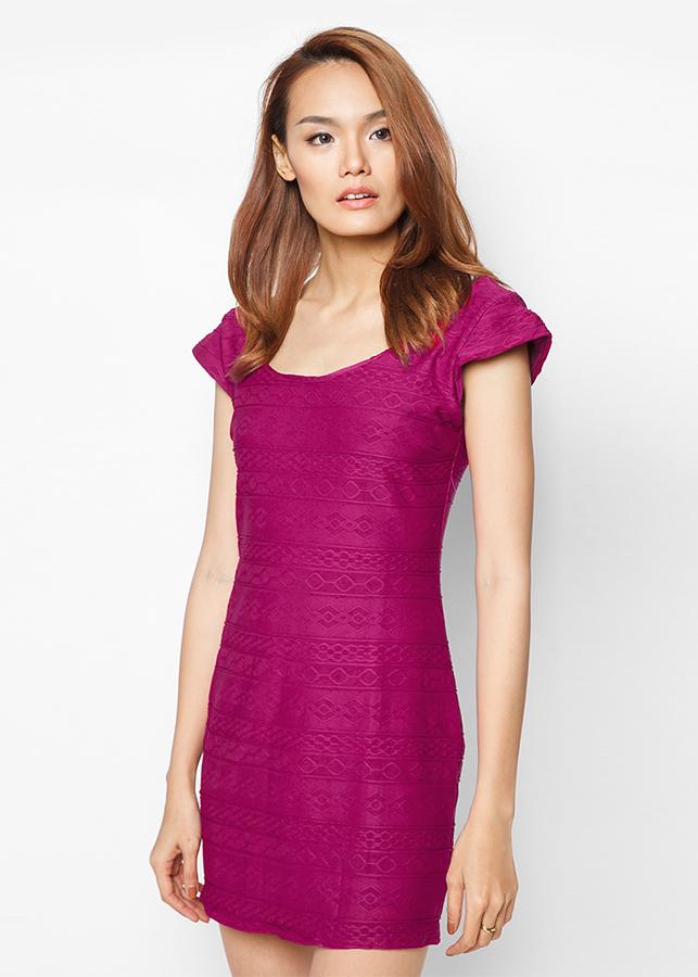Đầm Poly Gân Form Body Tay Con Nữ Tính - Đỏ Tím - Citino