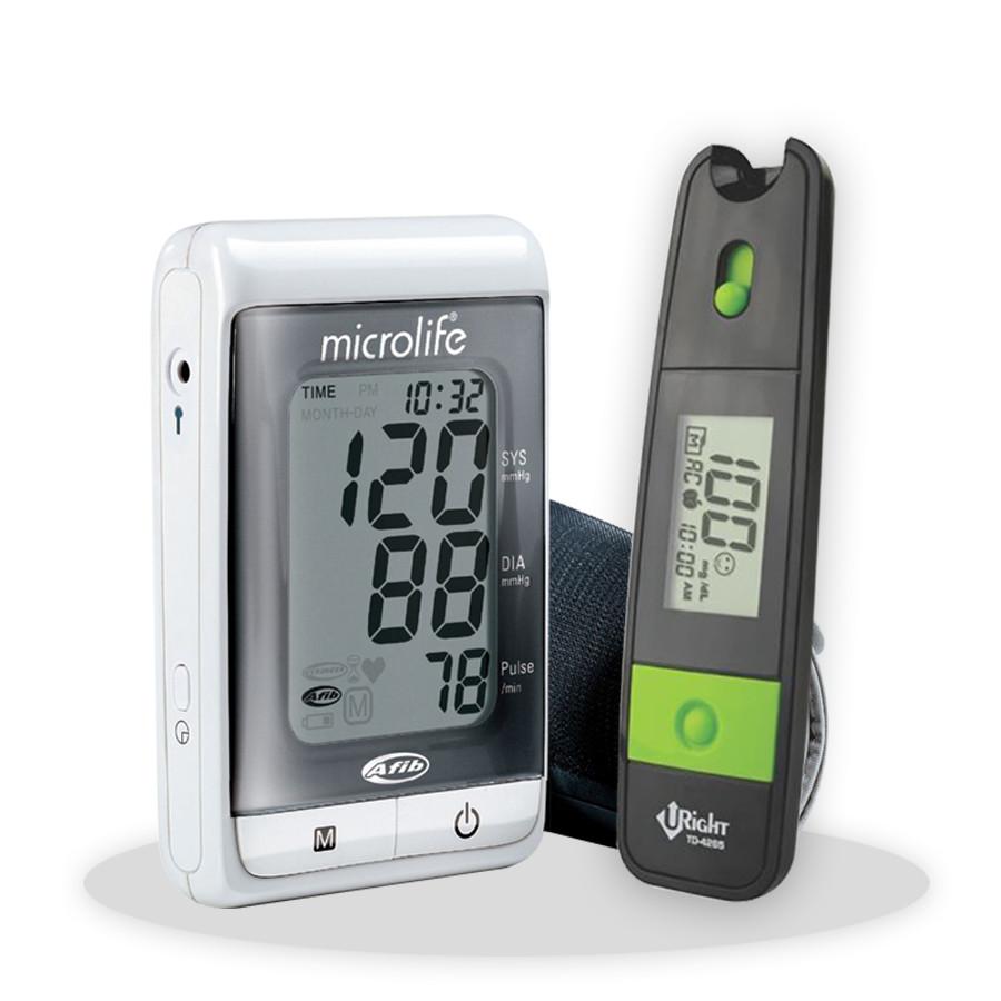 Combo Máy Đo Huyết Áp Bắp Tay Microlife A200  ( Kèm Bộ Đổi Nguồn Microlife ) + Tặng Máy Đo Đường Huyết Uright TD 4265
