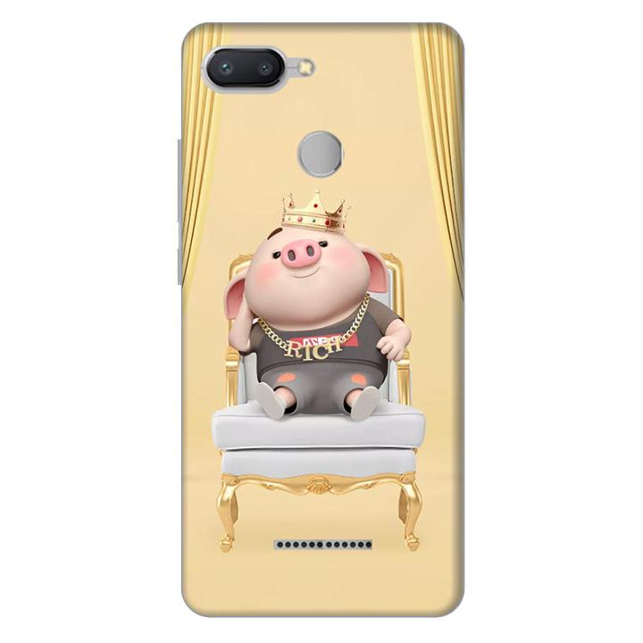 Ốp lưng nhựa cứng nhám dành cho Xiaomi Redmi 6 in hình Heo Quý Tộc