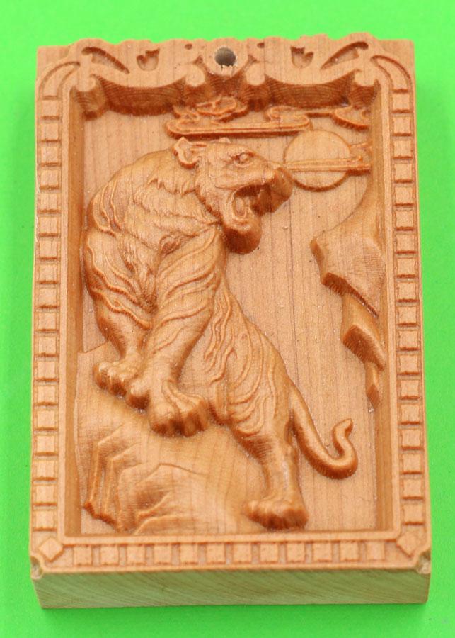 Mặt gỗ ngọc am - 12 con giáp - khắc hình tuổi Dần MGCG1