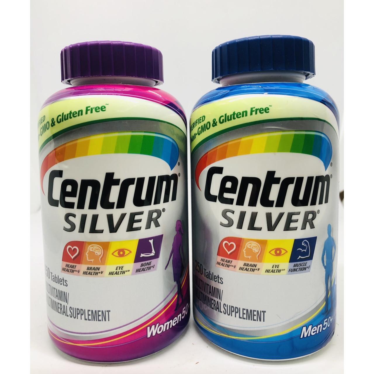 Combo Thực phẩm bổ sung Centrm Men  Women Silver 50+ 250 viên của Mỹ GIÚP BỔ SUNG VITAMIN VÀ KHOÁNG CHẤT