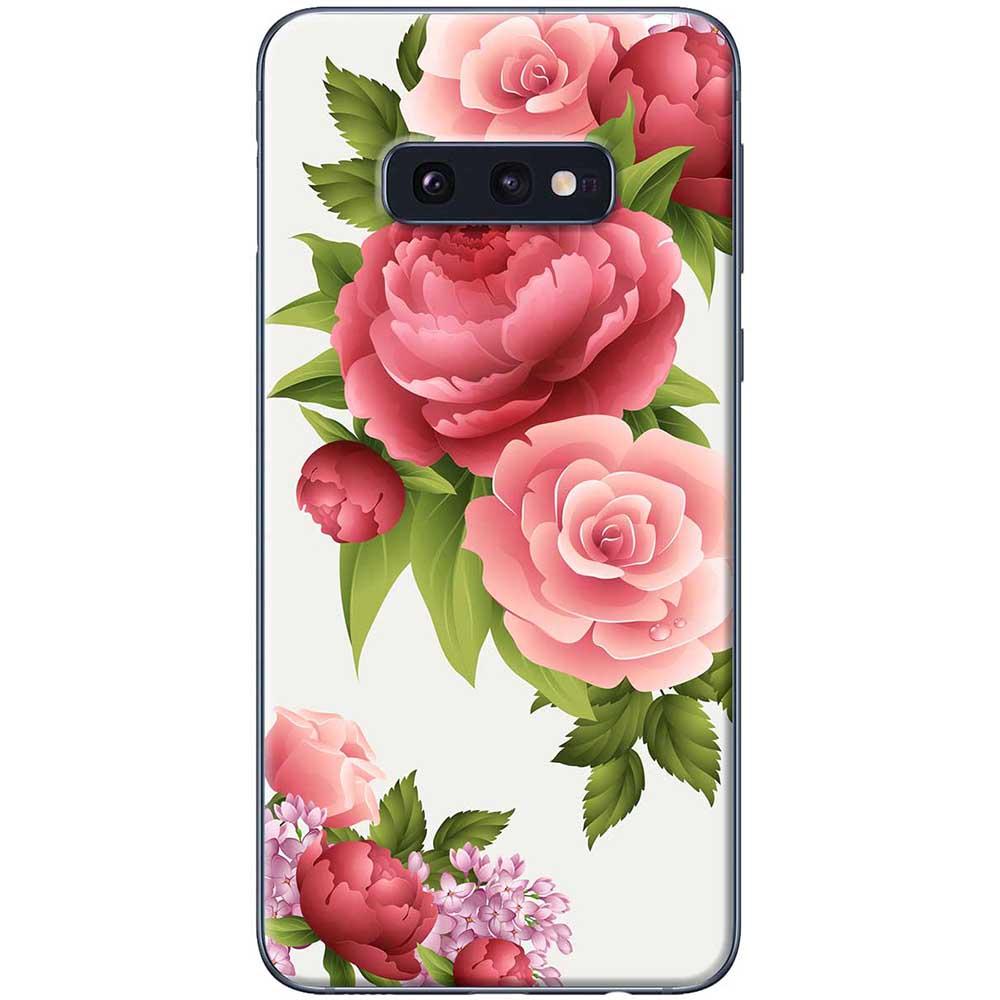 Ốp lưng  dành cho Samsung Galaxy S10e mẫu Hoa hồng đỏ nền trắng