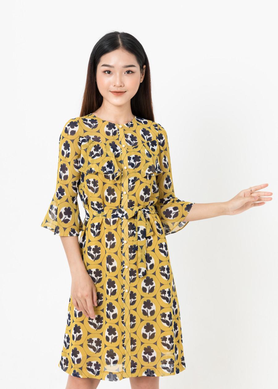 Đầm Suông Tay Lỡ Nẹp Trước - Vàng