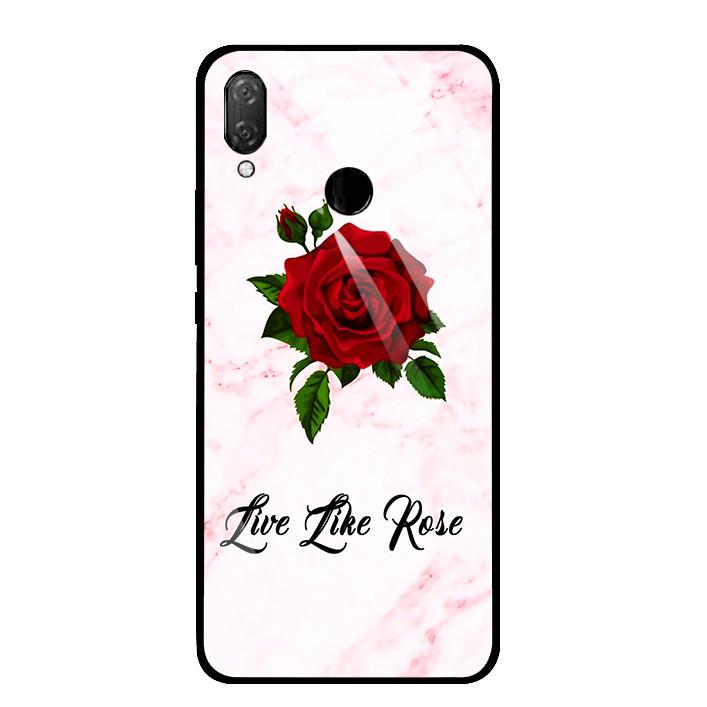 Ốp Lưng Kính Cường Lực cho điện thoại Huawei Y9 2019 - 03033 0060 FLOWER08 - Hàng Chính Hãng