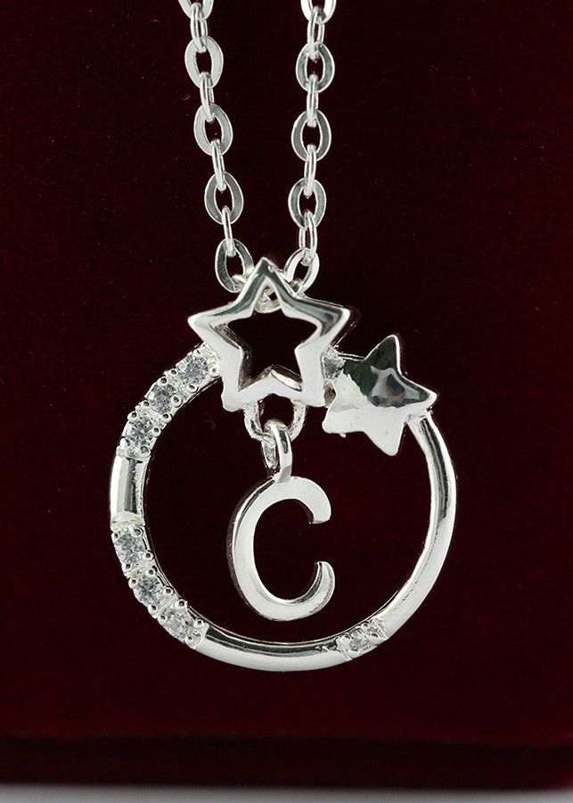 Dây chuyền bạc nữ mặt trăng sao khắc tên chữ C DCN0286