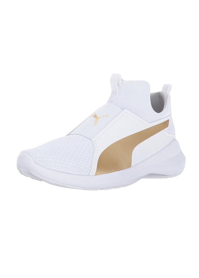 Giày Thể Thao Unisex Rebel Mid Wns Puma - Trắng Phối Vàng Gold