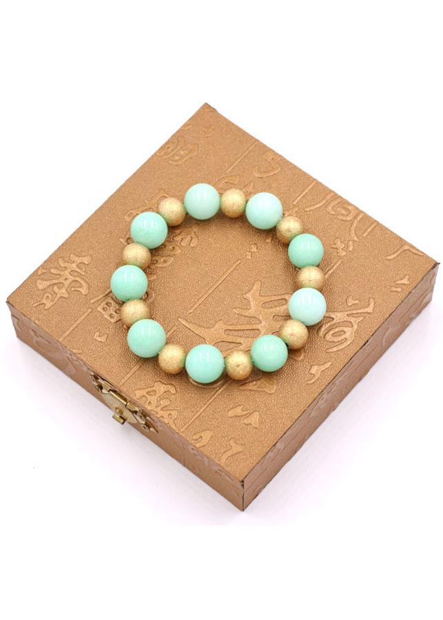 Chuỗi đeo tay - đá ngọc bích xanh 12 ly VNBXHVM1 - kèm hộp gỗ - hợp mệnh Mộc, mệnh Hỏa