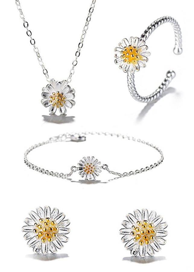 Bộ trang sức 4 món hình Hoa Cúc Nhụy vàng xinh xắn