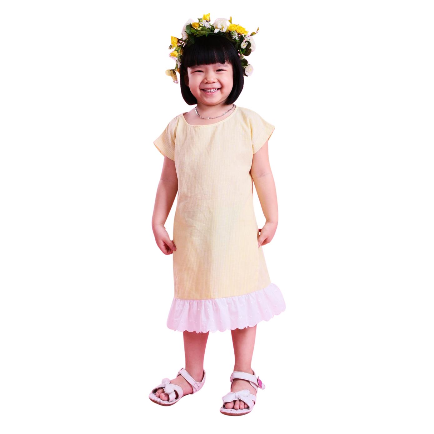 Đầm Suông Bé Gái Vàng Phối Chân Ren Ugether UKID39 - Sọc Vàng