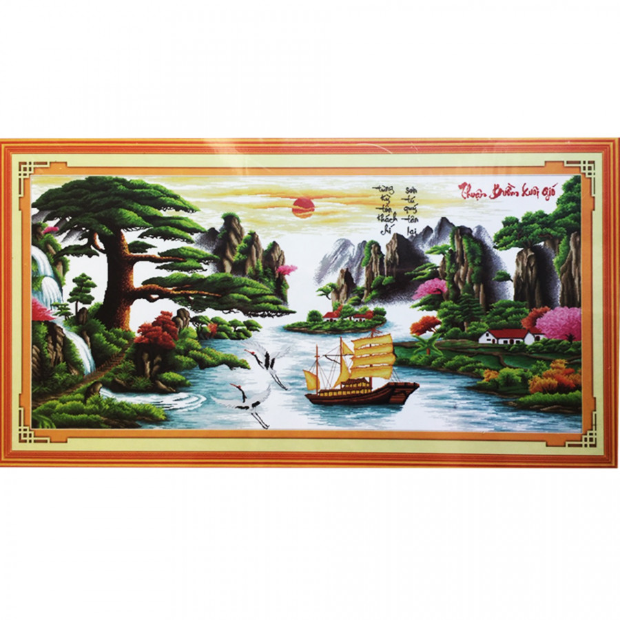 Tranh thêu Thuận Buồm Xuôi gió (168 x 78 cm)