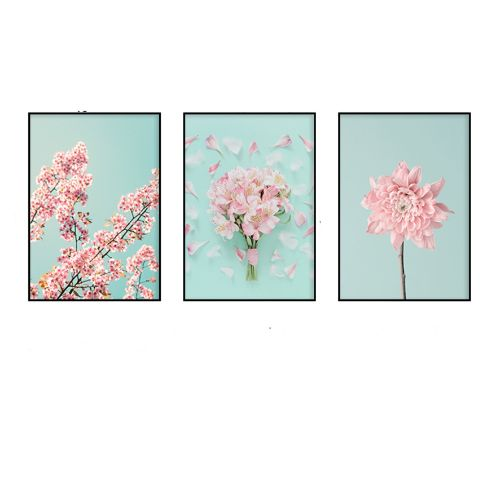 Bộ 3 Tranh Những Bông Hoa Hồng Pastel