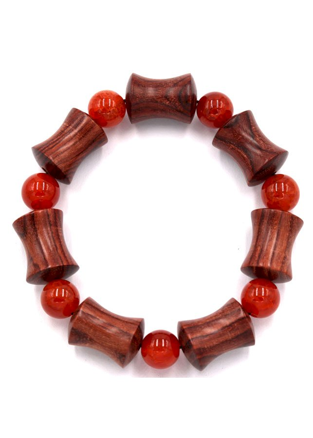 Vòng tay chuỗi hạt hồng mộc hình ống tre HMB4