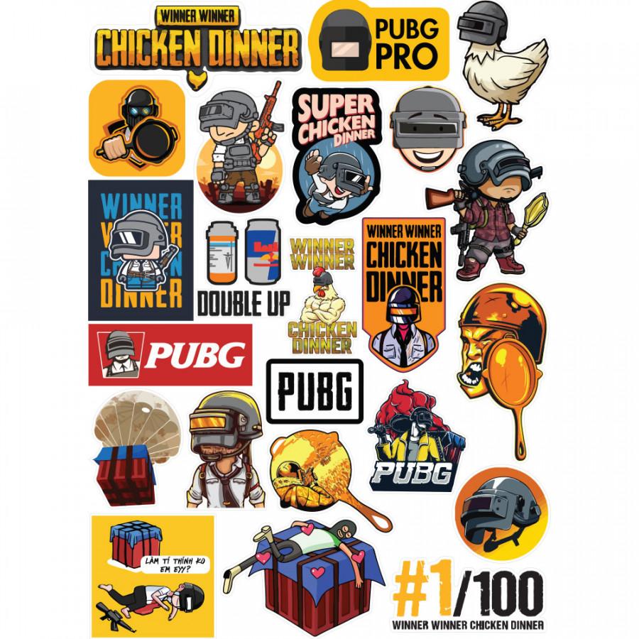 Bộ 22 Sticker Game PUBG Player Unknown Battleground - Chống Thấm Nước