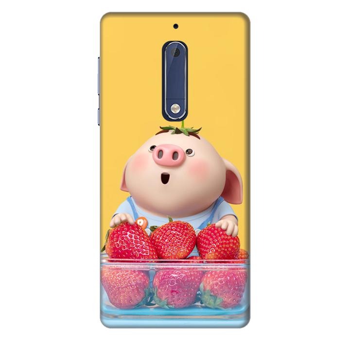 Ốp lưng nhựa cứng nhám dành cho Nokia 5 in hình Heo Con Dâu Tây