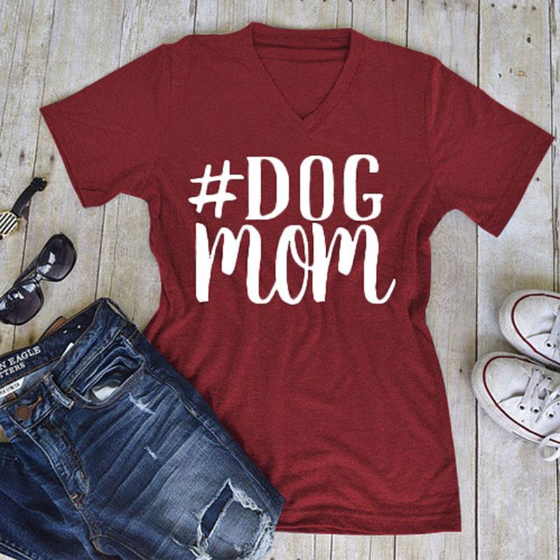 """Áo Thun Nữ TEE Tay Ngắn In Chữ """"Dog Mom"""" (Size L)"""