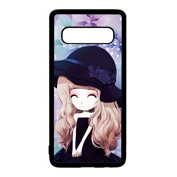 Ốp lưng điện thoại dành cho Samsung S10 Plus Anime Cô Gái Nón Đen