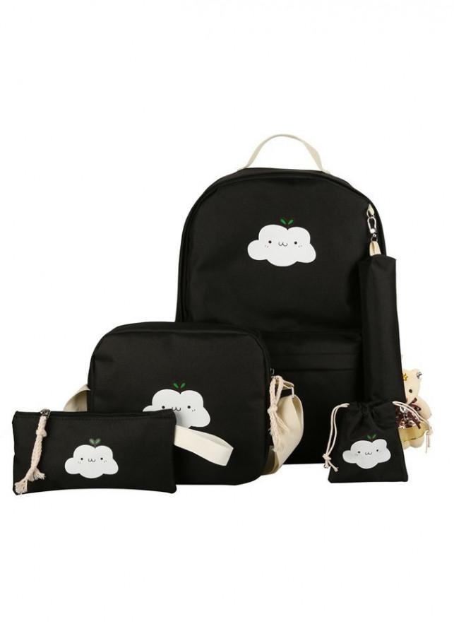 Bộ 5 ba lô nữ thời trang Smile Cloudy Tặng kèm gấu