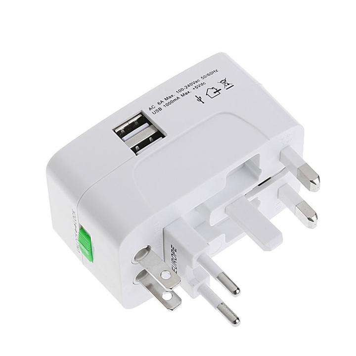 Ổ cắm điện quốc tế du lịch đa năng 2 cổng USB Travel AC Adapter