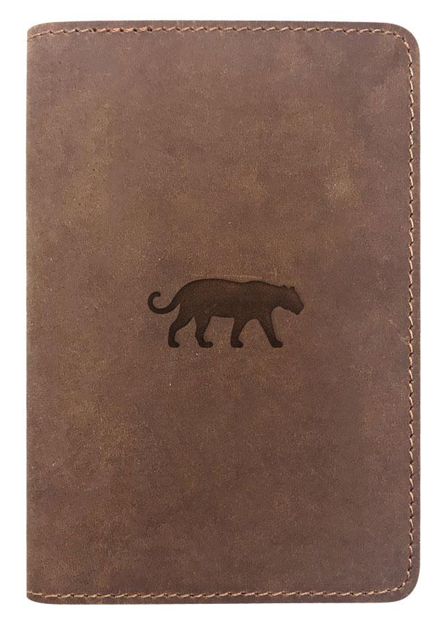 Passport Cover Bao Da Hộ Chiếu Da Sáp Khắc Hình Hình Báo Jaguar Silhouette (Brown)