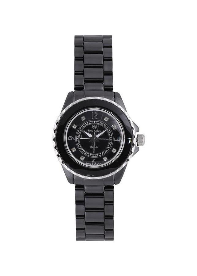 Đồng hồ nữ chính hãng Royal Crown 3821 dây đá Ceramic đen