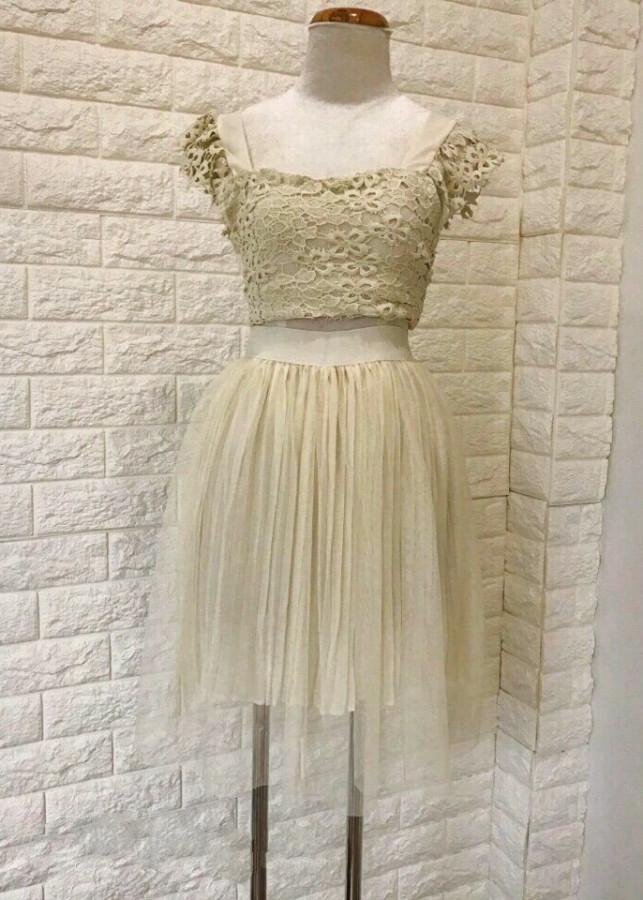 Set áo ren phối chân váy lưới kim sa D177 - Free size
