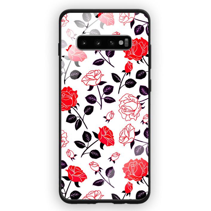 Ốp Lưng Kính Cường Lực Cho Điện Thoại Samsung Galaxy S10 Plus - 391 0058 ROSE09 - Hàng Chính Hãng