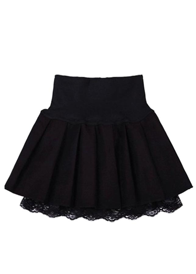 Váy đầm nữ xếp ly dáng ngắn có lớp ren bên trong điệu đà