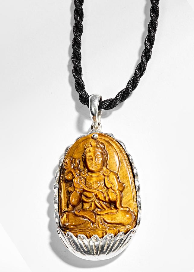 Mặt Dây Chuyền Phật Bản Mệnh Tuổi Ngọ Đại Thế Chí Bồ Tát Đá Mắt Hổ Ngọc Quý Gemstones