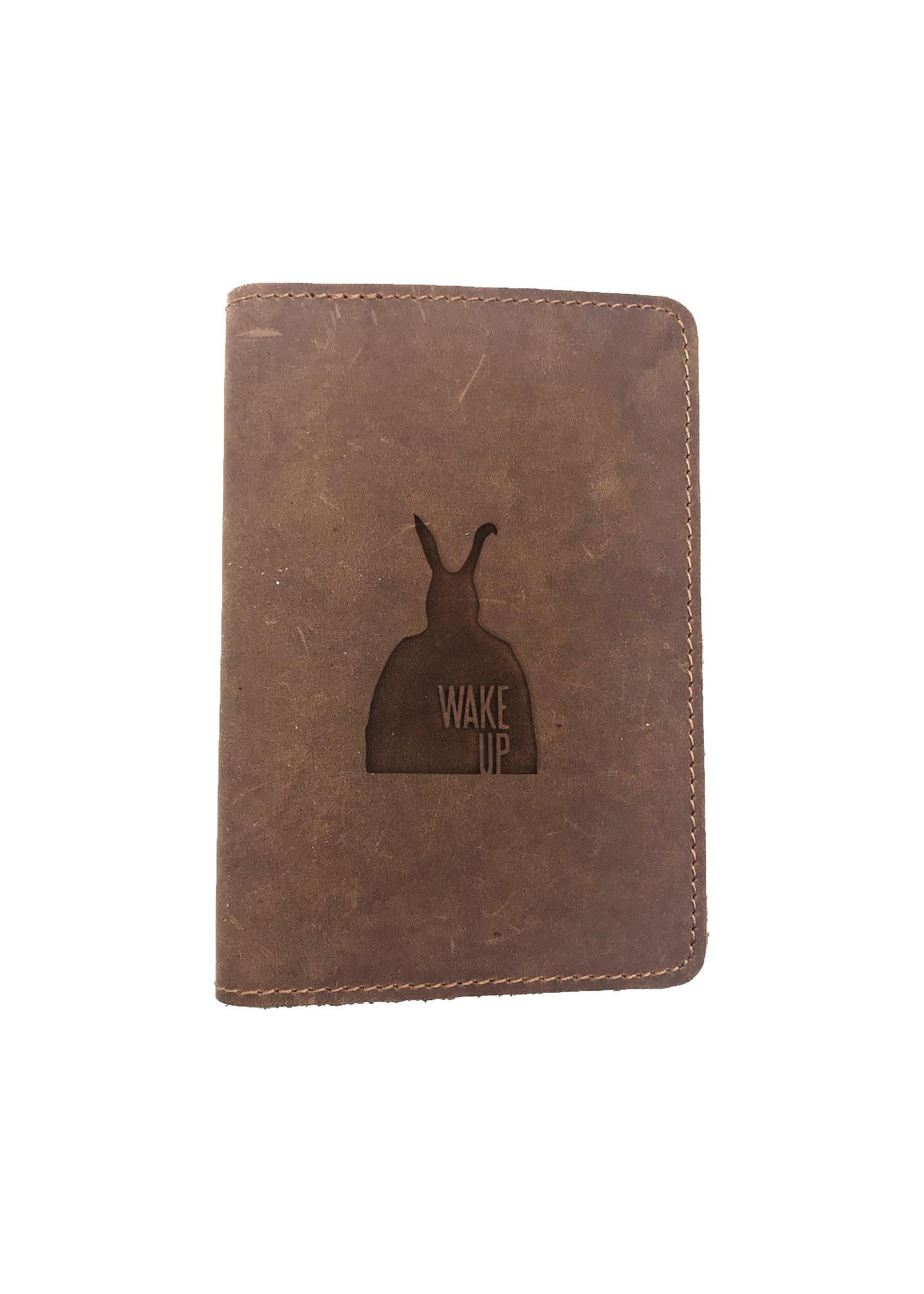 Passport Cover Bao Da Hộ Chiếu Da Sáp Khắc Hình Hình DONNIE DARKO WAKE UP (BROWN)