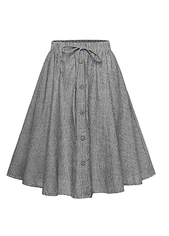7263978713713 - Chân váy xòe vải cotton dạo phố đi làm VAY23