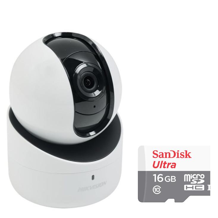 Camera IP Wifi Xoay 4 Chiều Hikvision DS-2CV2Q21FD-IW 2.0MP Và Thẻ Nhớ 16GB - Tặng Kèm Tai Nghe Bluetooth