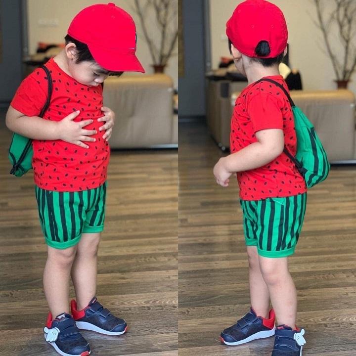 Đồ bộ tay ngắn đáng yêu kèm balo cho bé