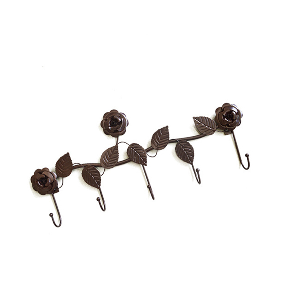 Creative Classic Rose Flower Wall Hanging Hook Rack Clothes Holder Hanger