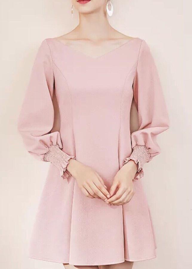 đầm xoè hồng pastel tay dài ( dưới 60kg)XDS62