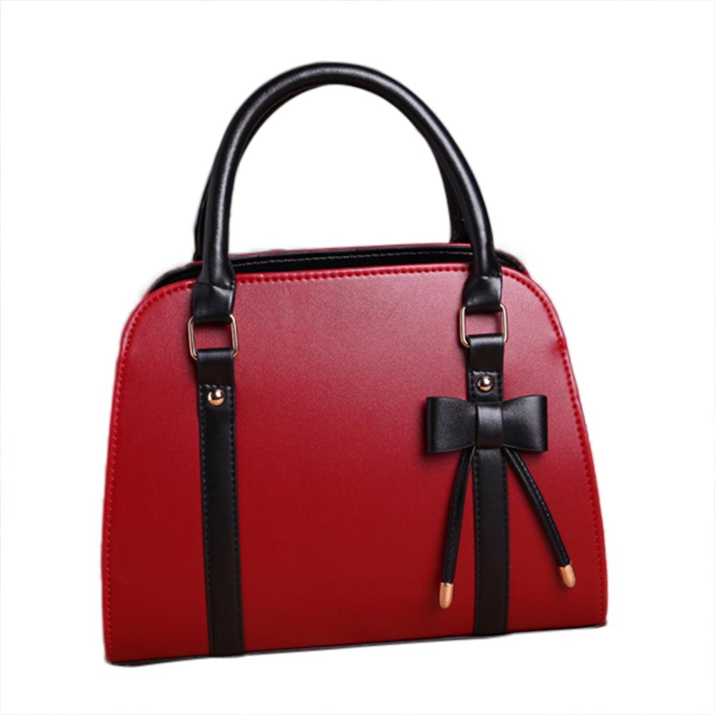 Women Ladies Bowknot Faux Leather Handbag Tote Messenger Crossbody Shoulder Bag