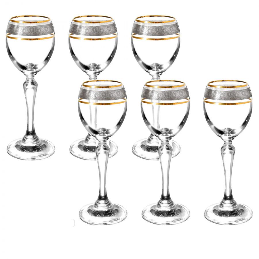Ly rượu mạnh khắc hoa mai mạ platin viền vàng tiệp khắc  60ml