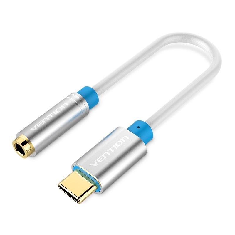 Cáp chuyển đổi Type-C ra Audio 3.5mm hỗ trợ điện thoại, laptop hàng chính hãng Vention