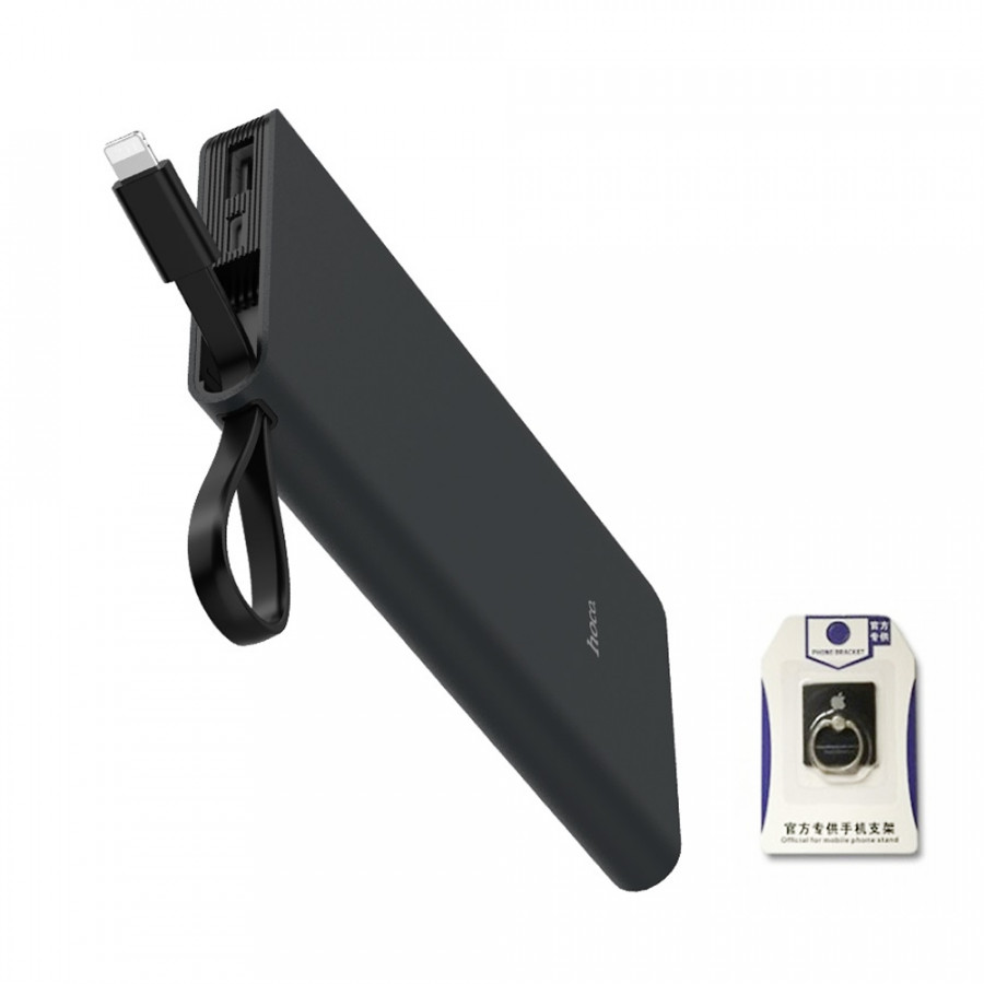 Pin sạc dự phòng 10000mah Hoco J25 tích hợp cáp Lightning (đen) - tặng giá đỡ điện thoại Iring