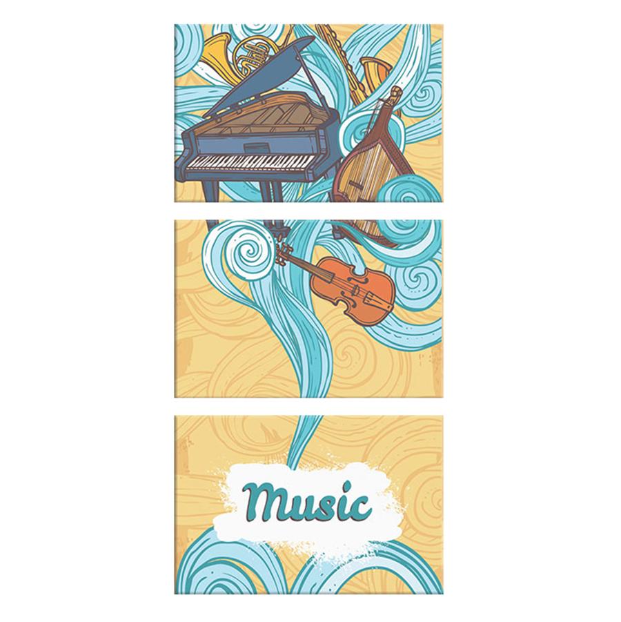 "Bộ 3 Tranh Canvas ""I Love Music"" - W170"